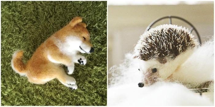 柴犬の羊毛フェルトとハリネズミの羊毛フェルト作品