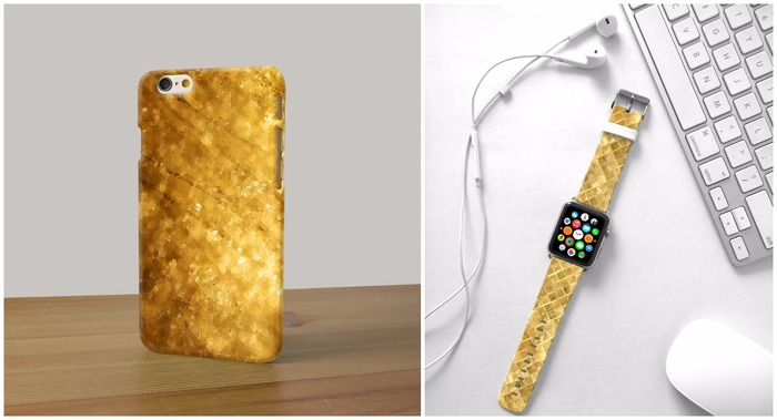 Glittery Gold Phone Case and iPhone Watch Band
