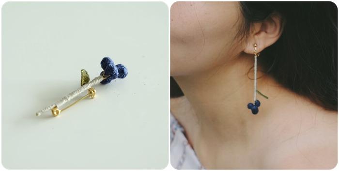馬來西亞設計 刺繡 別針 耳環 飾品