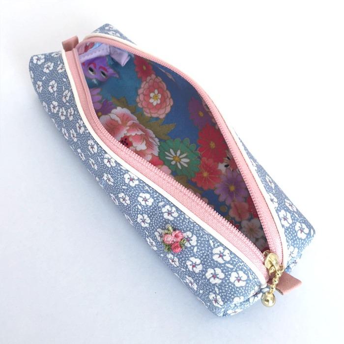 Japanese stationery pencil case with silk kimono fabric