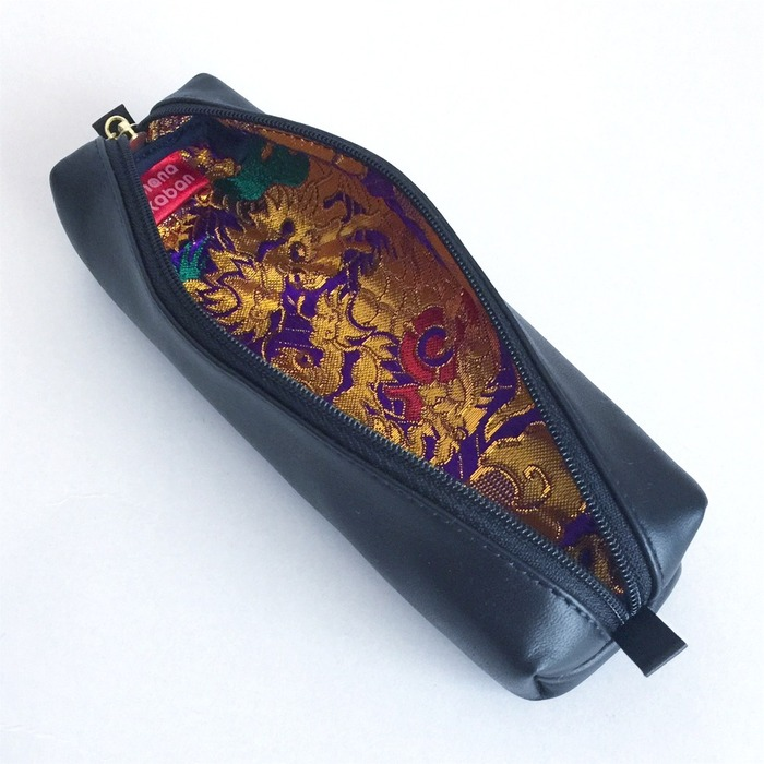 Japanese stationery leather pencil case with kimono fabric