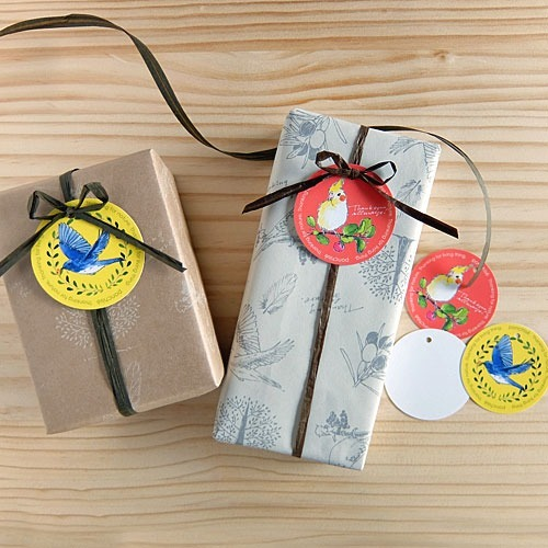Japanese stationery bird illustration gift tags