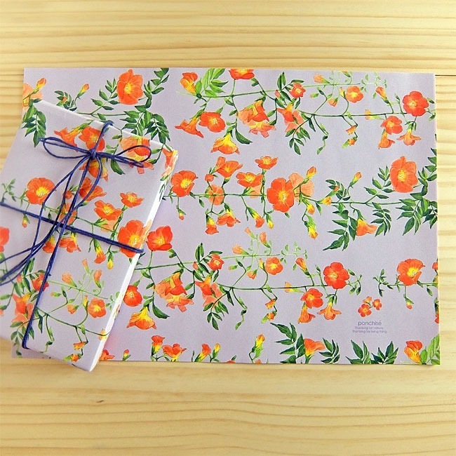 Japanese stationery floral wrapping paper