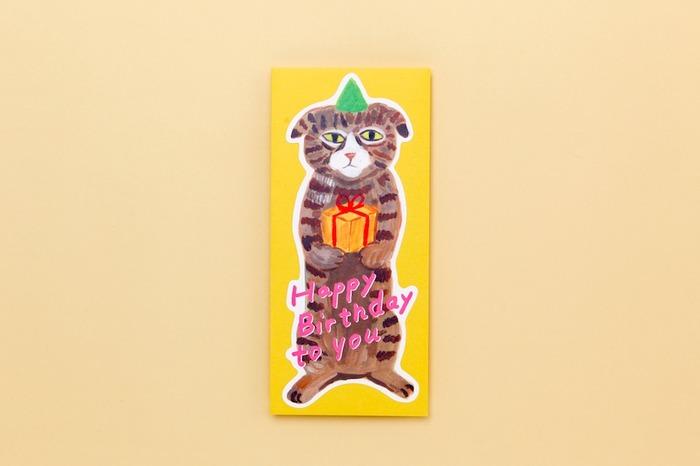 Japanese stationery cat illustration birthday card