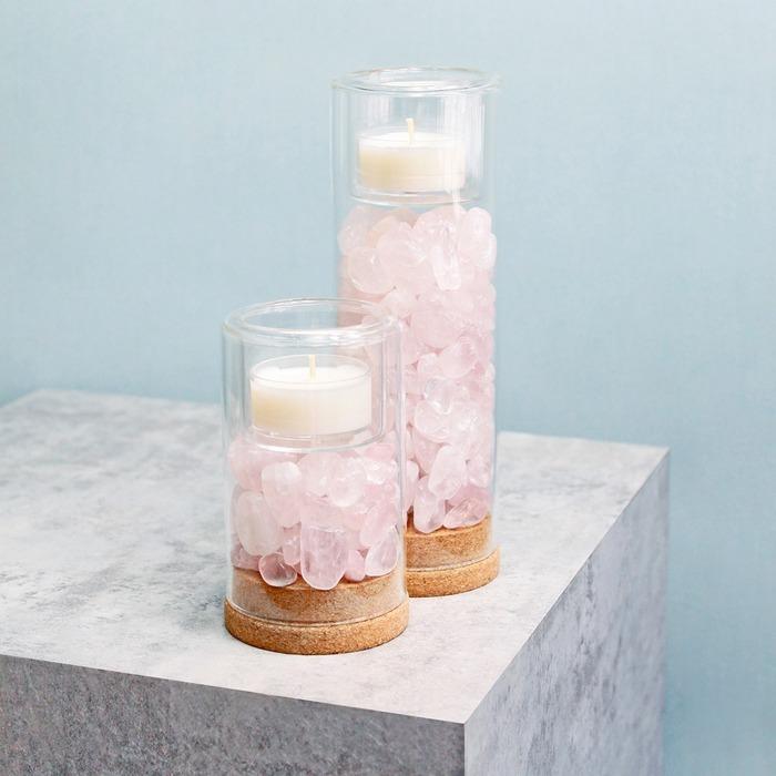 天然粉水晶燭台