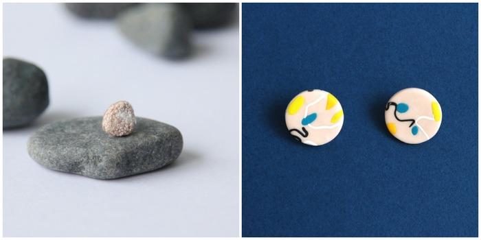 小珊瑚刺繡耳環