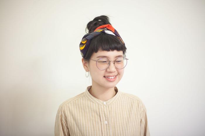 文青風頭巾綁法