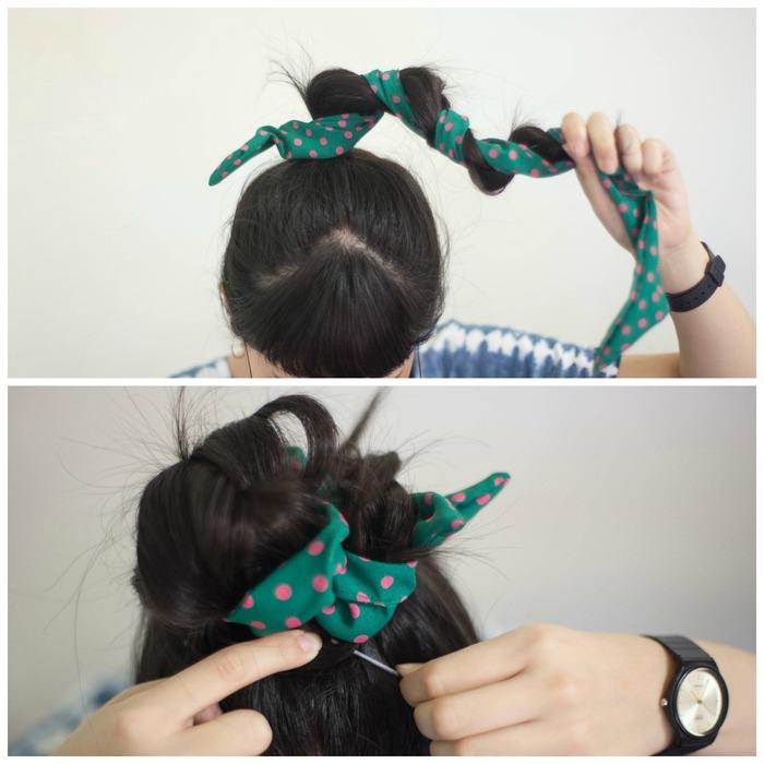 丸子頭髮帶綁法