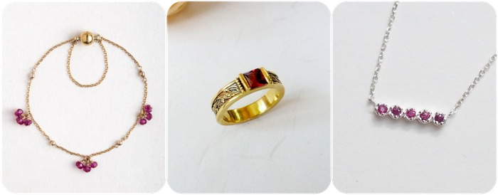 2018 horoscope and birthstones gifts for Cancer: ruby bracelet, ruby ring, ruby necklace