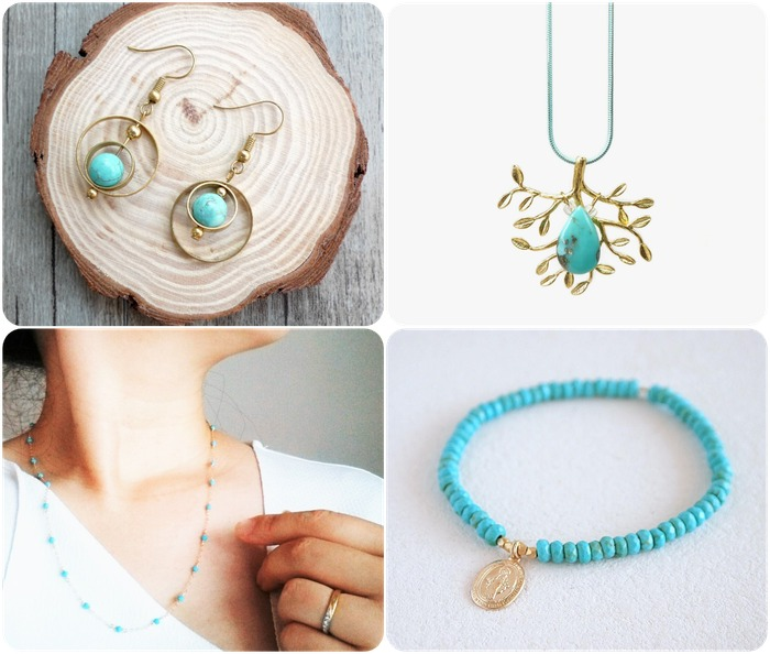 2018 horoscope and birthstones gifts for Sagittarius: turquoise earrings, turquoise necklace, turquoise bracelet