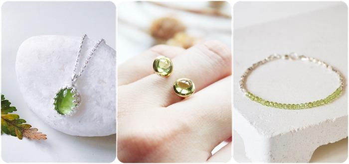 2018 horoscope and birthstones gifts for Leo: peridot necklace, peridot ring, peridot bracelet