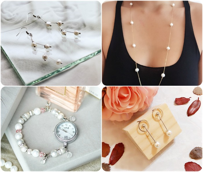 2018 horoscope and birthstones gifts for Gemini: pearl earrings, pearl necklace, pearl bracelet