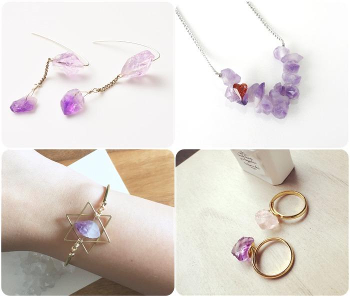 2018 horoscope and birthstones gifts for Aquarius: amethyst earrings, amethyst necklace, amethyst bracelet, amethyst rings