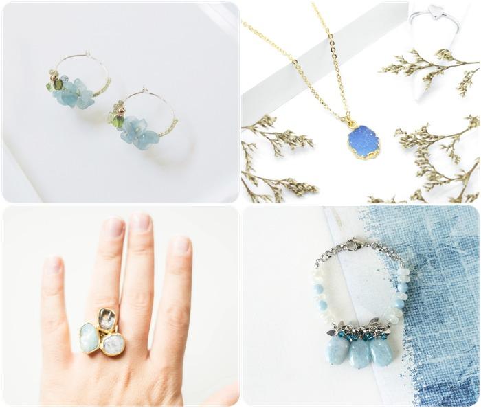 2018 horoscope and birthstones gifts for Pisces: aquamarine rings, aquamarine earrings, aquamarine necklace, aquamarine bracelet