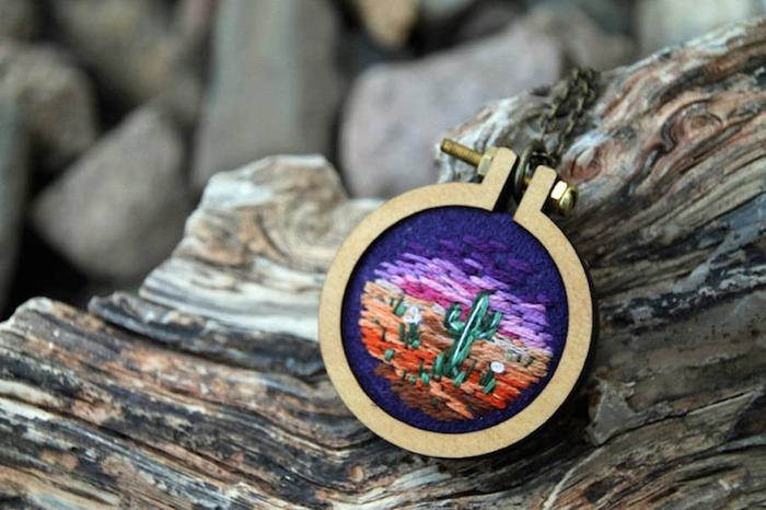 Sarah Buckley's Vivid Landscape Embroidery Jewelry - Read Zine - Pinkoi