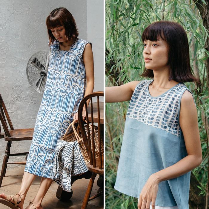mulmul cabinet 泰國 藍 傳統 麻質 衣服 藍印 連身裙