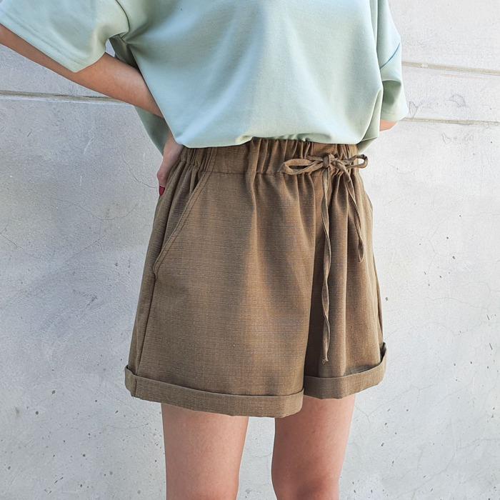 麻質橄欖綠短褲 humming three 夏天 女裝 泰國